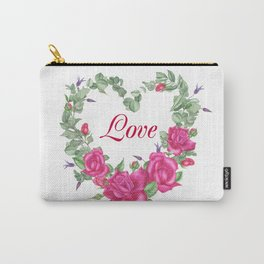Floral wreath with rose and leaves in heart form Carry-All Pouch