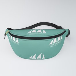 White Sailboat Pattern on green blue background Fanny Pack