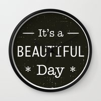u2 Wall Clocks featuring It's a beautiful day - U2 / QUEEN song title by Little Fish Creations