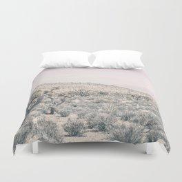 Mojave Pink Dusk // Desert Cactus Landscape Soft Cloudy Sky Mountain Scape Photograph Duvet Cover