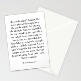She was beautiful, but not like those girls in the magazines. Stationery Cards