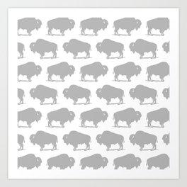 Buffalo Bison Pattern 268 Grey Art Print