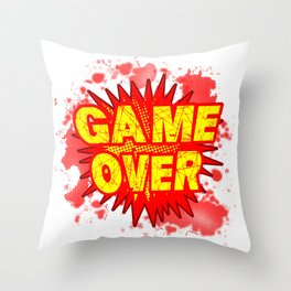Game Over Cartoon Comic Explosion Throw Pillow
