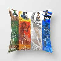 the legend of korra Throw Pillows featuring Legend of Korra Elements by paulovicente