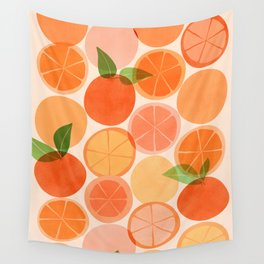 Sunny Oranges / Tropical Fruit Illustration Wall Tapestry