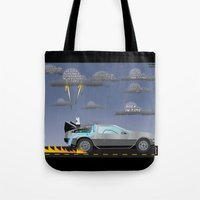 delorean Tote Bags featuring Delorean Song by thewhitewolf90
