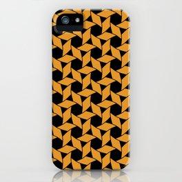 JAVELIN bright orange pinwheels on black background iPhone Case
