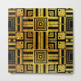 Gold Stripes , Rectangles , Patterns Metal Print