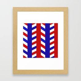 Striped Red Blue Pattern Framed Art Print