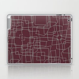 Decorative wine and grey abstract squares Laptop & iPad Skin