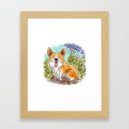 Garden Corgi Framed Art Print