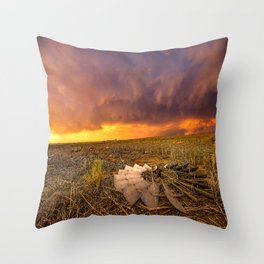 Lost In Time - Broken Windmill and Stormy Sky in Kansas Throw Pillow