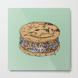 THERE'S ALWAYS TIME FOR AN ICE CREAM SANDWICH WITH CHOCOLATE CHIPS AND FUNFETTIS! - MINT Metal Print