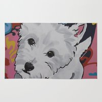 westie Area & Throw Rugs featuring Pop Art Westie Named Poppy by Karren Garces Pet Art