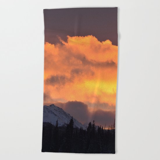 Sunrise Behind Chugach Mts ~ II Beach Towel