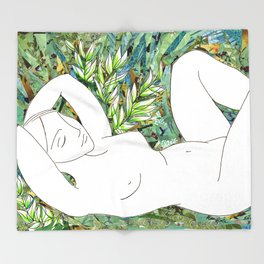 Nude with Green Flowers Throw Blanket