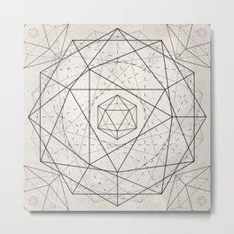 Icosahedron Mandala Metal Print