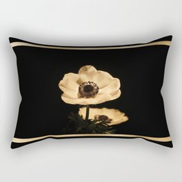 Anemone Flowers, Black with Golden Frame, Floral Nature Photography Rectangular Pillow