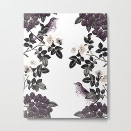 Blackberry Spring Garden - Birds Bees and Flowers Metal Print