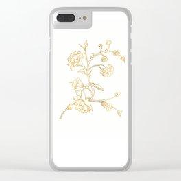 Golden flower on white background . artwork . Clear iPhone Case