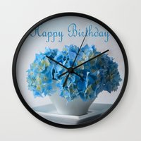 hydrangea Wall Clocks featuring Hydrangea by Fine Art by Rina