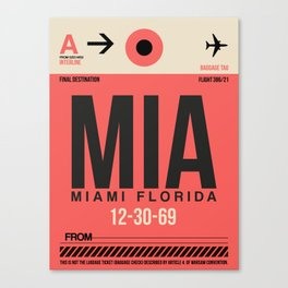 MIA Miami Luggage Tag 1 Canvas Print