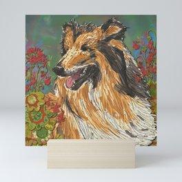 Rough Collie & Red Geraniums Mini Art Print