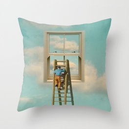 Window cleaner in the sky 02 Throw Pillow