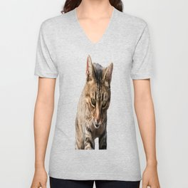 Tabby Looking Down Background Removed Unisex V-Neck