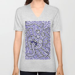 """""""The Face"""" - inspired by Keith Haring v. blue Unisex V-Neck"""