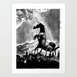 Creature Over The Town Art Print