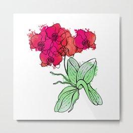 Pink Orchid. Floral. Metal Print