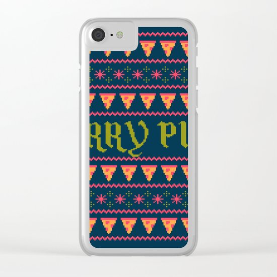Merry Pizza Clear iPhone Case