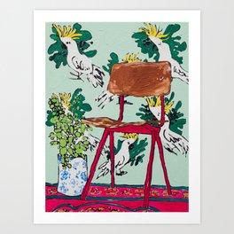 School Chair and Mint Cockatoo Wallpaper Art Print