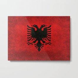 National flag of Albania with Vintage textures Metal Print