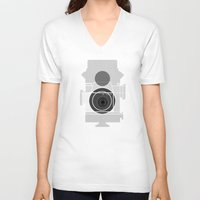 history V-neck T-shirts featuring Camera History by BlancaJP - Jonna Piltti
