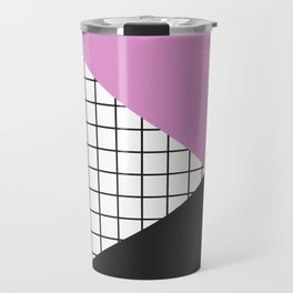 Geometry: black, pink and squres Travel Mug