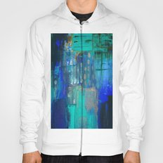 Blue Green Abstract on Canvas Hoody
