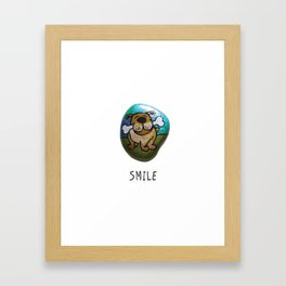 Smile Rock Cute Puppy with Bone Rock Painting by annmariescreations Framed Art Print