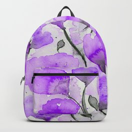 Purple Poppy Mix - Watercolor and Digital Color Enhanced Art Backpack