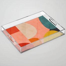 geometry shape mid century organic blush curry teal Acrylic Tray