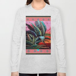 WESTERN PINK CORAL COLOR DESERT  BLUE AGAVE Long Sleeve T-shirt