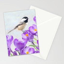 Chickadee and Purple Crocus Stationery Cards