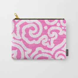 Girly pink white modern damask pattern Carry-All Pouch