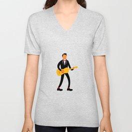 Guitarist in Tuxedo Playing Guitar Retro Unisex V-Neck