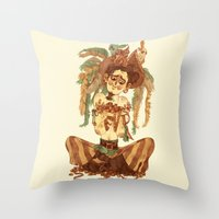 pirate Throw Pillows featuring Pirate by Fabio Mancini