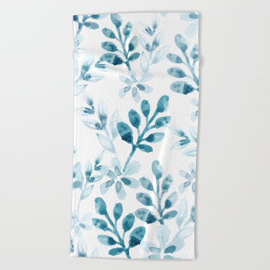 Watercolor Floral Pattern (Winter Version)  Beach Towel