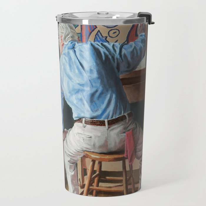 Rockwell Meets Picasso - Nude in a Red Armchair Travel Mug