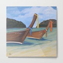 Longtail Boats On Tropical Beach Metal Print
