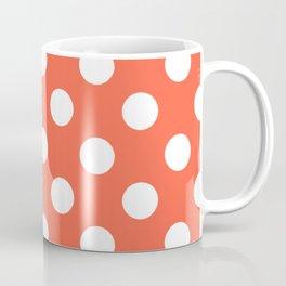 Tomato - orange - White Polka Dots - Pois Pattern Coffee Mug